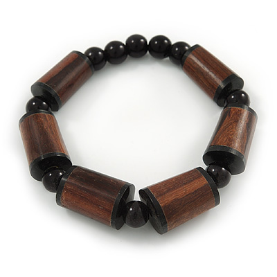 Brown Wood, Black Acrylic Bead Flex Bracelet - 18cm L - main view