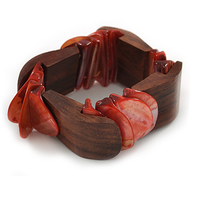 Unique Salmon Pink Sea Shell And Brown Wood Stretch Bracelet - 18cm L