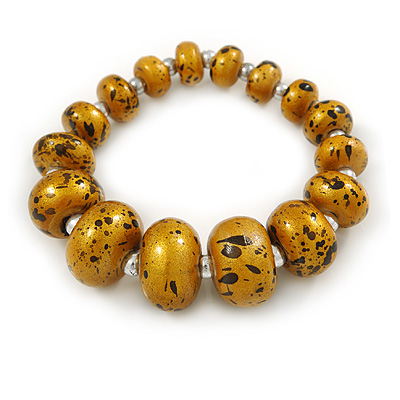 Glitter Gold/ Black Graduated Wooden Bead Flex Bracelet - 19cm L