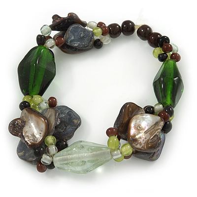 Black, Green Shell, Glass Bead Flex Bracelet - 18cm L