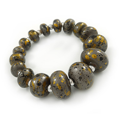 Grey/ Black/ Gold Graduated Wooden Bead Flex Bracelet - 19cm L - main view