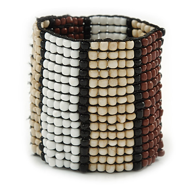 Wide Glass Bead Flex Bracelet (White/Brown/ Nude/ Black) - 16cm L (For Smaller Wrists)