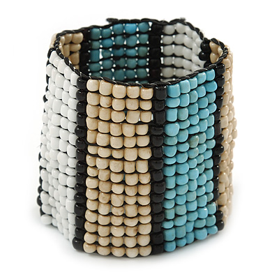 Wide Glass Bead Flex Bracelet (White/ Light Blue/ Nude/ Black) - 17cm L