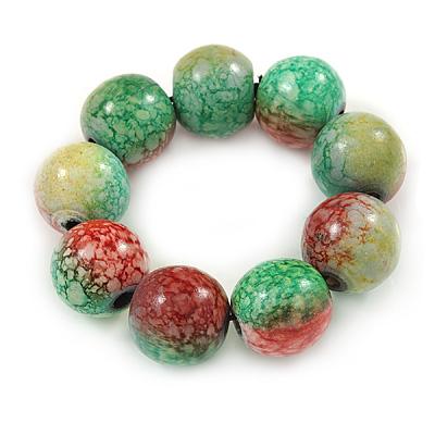 Chunky Wood Bead Flex Bracelet (Light Green/ Red) - 19cm L