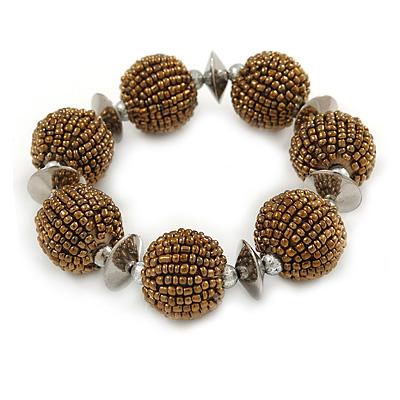 Chunky Bronze Glass Bead Ball Stretch Bracelet - 19cm L