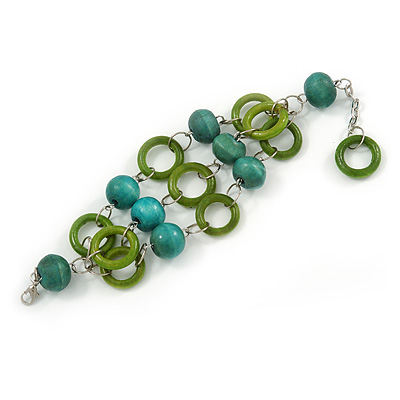 3 Strand Grass Green/ Teal Wood Bead and Loop Bracelet In Silver Tone Metal - 21cm L/ 5cm Ext