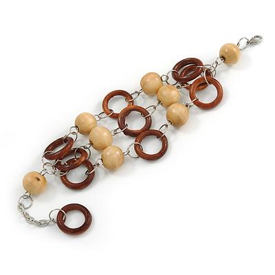 3 Strand Brown Wood Bead and Loop Bracelet In Silver Tone Metal - 21cm L/ 5cm Ext - main view