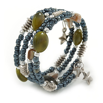 Multistrand Glass, Shell Bead Flex Bracelet (Hematite, Olive, Natural) - 17cm L