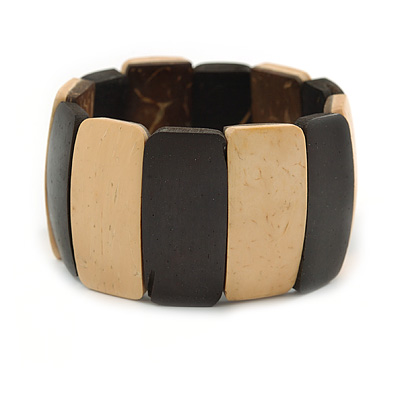 Dark Brown/ Natural Wooden Station Flex Bracelet - 18cm L