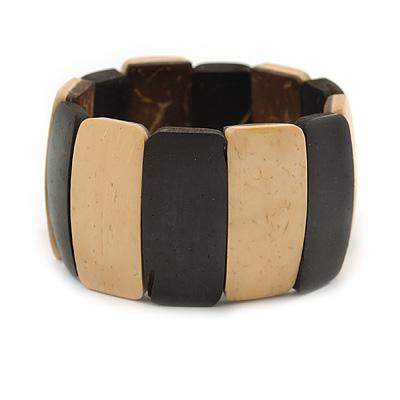 Dark Brown/ Natural Wooden Station Flex Bracelet - 18cm L - main view