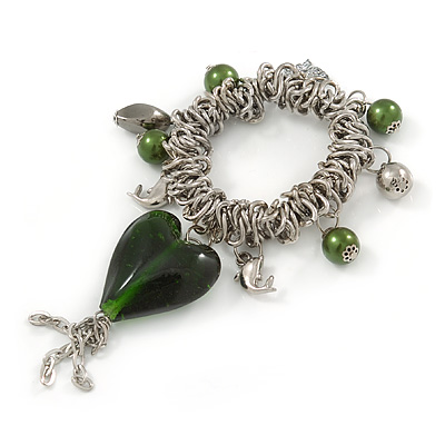 Large Green Glass Heart Charm Silver Tone Metal Link Flex Bracelet - 16cm L (For Smaller Wrists)