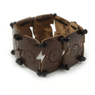 Brown Coco, Black Glass Bead Flex Bracelet - 18cm L