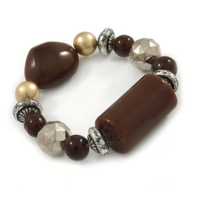 Brown/ Black/ Silver Beaded Flex Bracelet - 17cm L (for small wrist)
