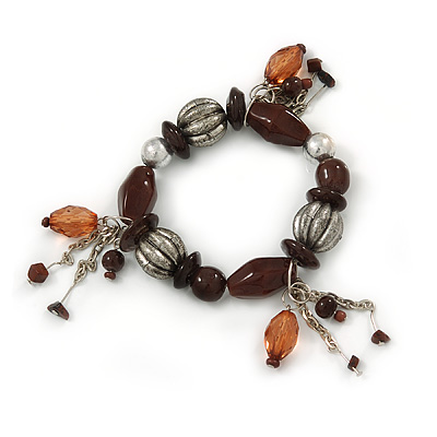 Brown/ Antique Silver Ceramic, Metal Bead Charm Flex Bracelet - 18cm L