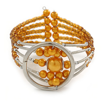 Gold Orange Acrylic Bead Wristwatch Style Flex Cuff Bracelet - 19cm L