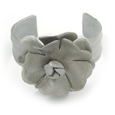 Silver Leather Style Rose Flex Cuff Bracelet - Adjustable