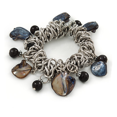 Sea Shell, Ceramic Bead, Metal Link Flex Charm Bracelet (Black, Grey) - 17cm L