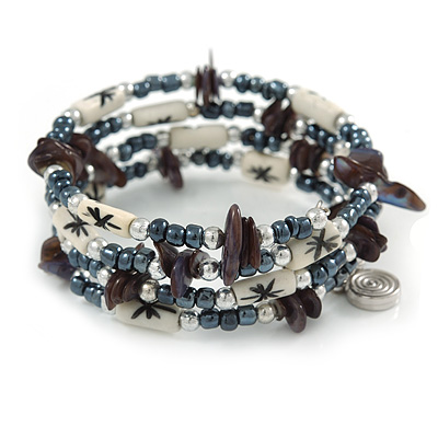 Multistrand Coiled Glass/ Bone Bead, Shell Nugget Flex Bracelet (Hematite, Grey, White) - 17cm L