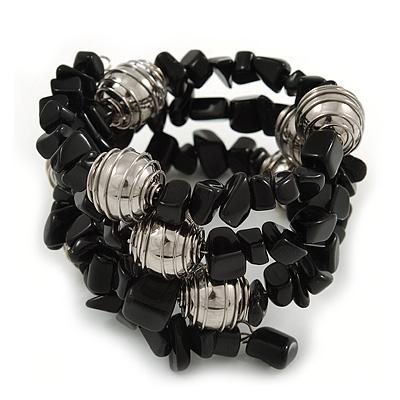 Black Agate Nugget Silver Tone Metal Bead Coiled Flex Bracelet - 20cm L - Adjustable