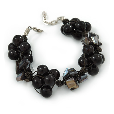 Black Shell Nugget, Ceramic Bead Cluster Bracelet - 16cm L/ 3cm Ext - For Smaller Wrists