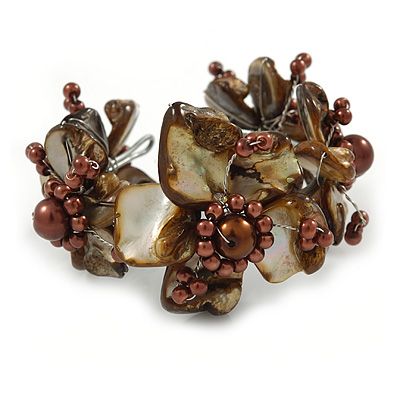 Taupe/ Coffee Brown Floral Sea Shell & Simulated Pearl Cuff Bracelet (Silver Tone) - Adjustable