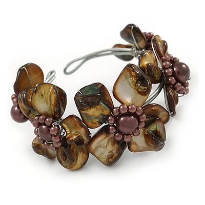 Brown Floral Sea Shell & Simulated Pearl Cuff Bracelet (Silver Tone) - Adjustable