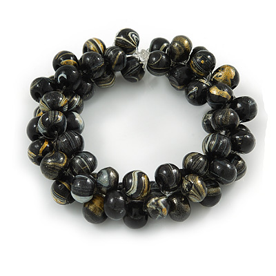 Black/ Gold Wood Bead Cluster Flex Bracelet - 18cm L - main view
