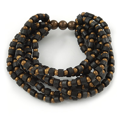 Multistrand Black/ Bronze Wood Bead Flex Bracelet - 17cm L