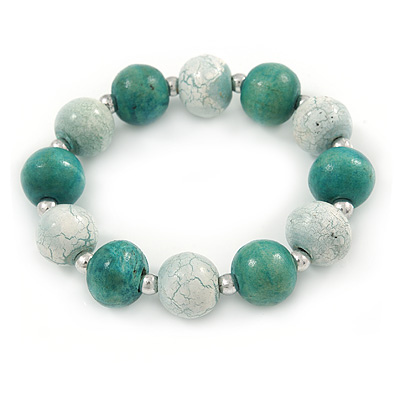 Green/ White Cracked Effect Wood Bead Flex Bracelet - 19cm L