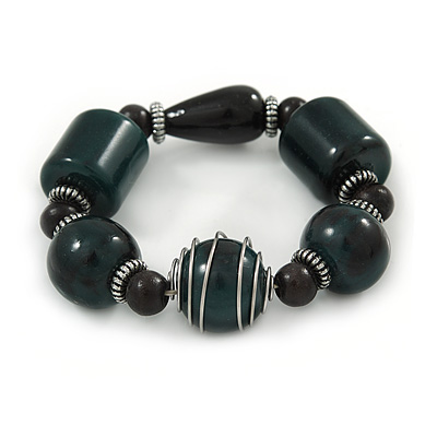 Chunky Dark Green/ Black Resin Bead Flex Bracelet - 18cm L