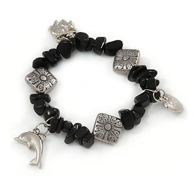Black Agate Nugget Charm Flex Bracelet - 20cm L