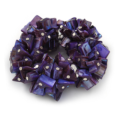 Chunky Inky Purple Shell Nugget Stretch Bracelet - 17cm L