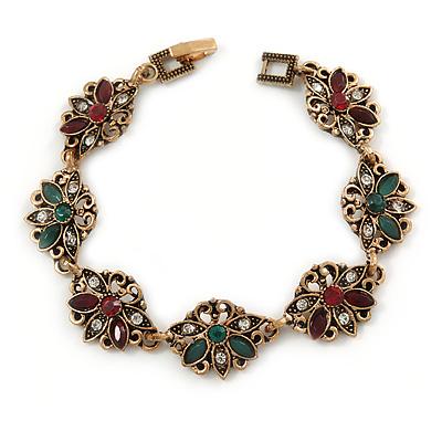 Vintage Inspired Turkish Style Floral Bracelet In Bronze Tone (Green/ Burgundy Red) - 17cm L