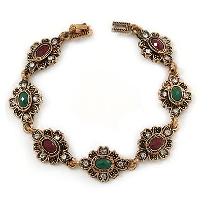 Vintage Inspired Turkish Style Floral Bracelet In Bronze Tone (Green/ Ox Blood) - 17cm L