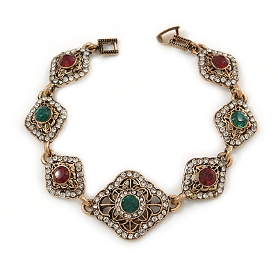 Vintage Inspired Turkish Style Crystal Filigree Bracelet In Bronze Tone (Clear, Green, Burgundy Red) - 18cm L