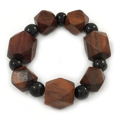 Brown Wood, Black Ceramic Beads Flex Bracelet - 18cm L