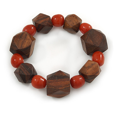 Brown Wood, Carrot Red Ceramic Beads Flex Bracelet - 18cm L - main view