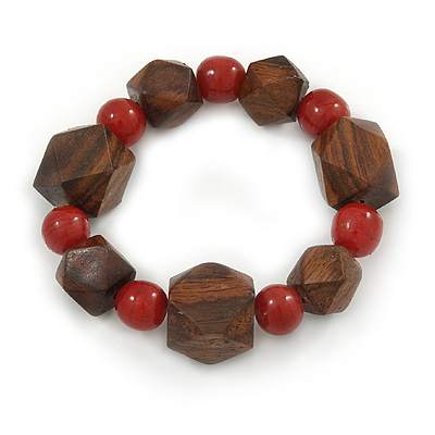 Brown Wood, Carrot Red Ceramic Beads Flex Bracelet - 18cm L
