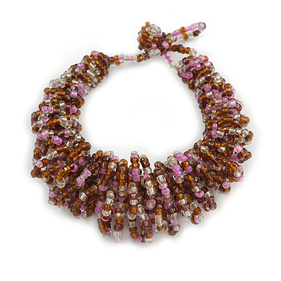 Pink/ Plum/ Transparent Glass Bead Chunky Weaved Bracelet - 17cm L/ 2cm Ext/ Medium