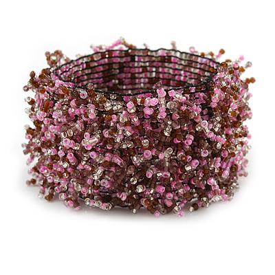 Wide Glass Bead Flex Bracelet (Pink/ Plum) - 18cm L/ Medium