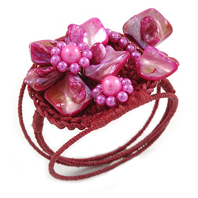 Fuchsia Pink Shell Bead Flower Wired Flex Bracelet - Adjustable