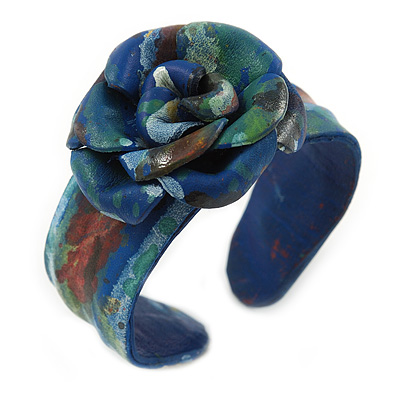 Romantic Blue Flower Leather Cuff Bracelet - Adjustable