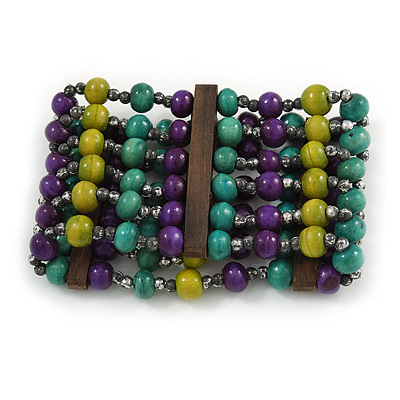 Wide Wood and Acrylic Bead Flex Bracelet (Purple/ Teal/ Olive/ Brown) - 19cm Long (Large) - main view