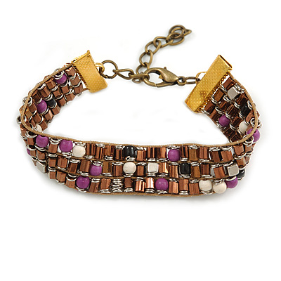 Stylish Glass Beaded Handmade Bracelet In Bronze Tone Metal - 14cm L/ 5cm Ext (For Small Wrist)