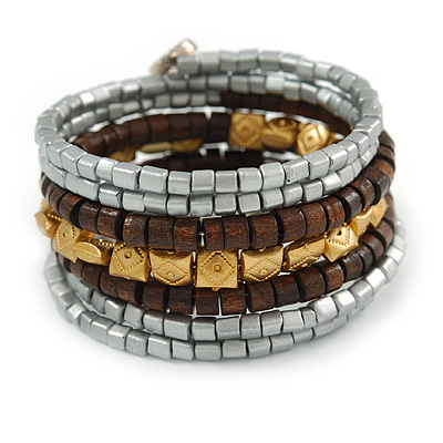 Multistrand Beaded Coiled Flex Bracelet in Silver, Brown, Gold - Adjustable