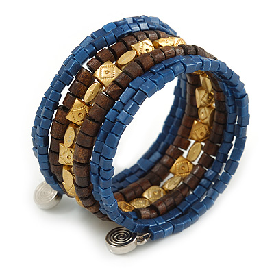 Multistrand Beaded Coiled Flex Bracelet in Blue, Brown, Gold - Adjustable