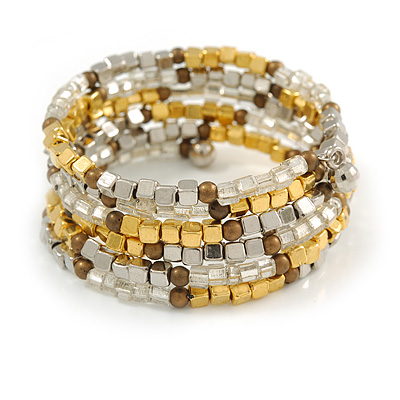 Multistrand Acrylic Bead Coiled Flex Bracelet In Silver, Gold, Brown - Adjustable