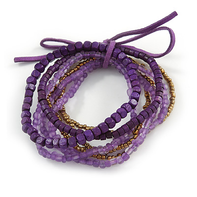 Stylish Multistrand Wood and Glass Bead Flex Bracelet (Purple, Bronze) - 18cm L