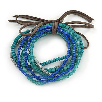 Stylish Multistrand Wood, Acrylic and Glass Bead Flex Bracelet (Teal, Blue, Grey) - 18cm L