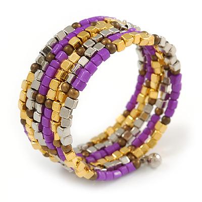 Multistrand Glass, Acrylic Bead Coiled Flex Bracelet (Silver, Gold, Bronze, Magenta) - Adjustable